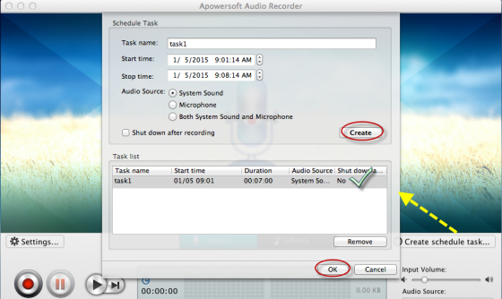 set timer to record audio
