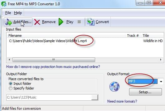 Free MP4 to MP3 converter interface