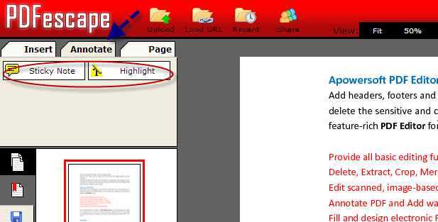 Annotate PDF file with PDFescape