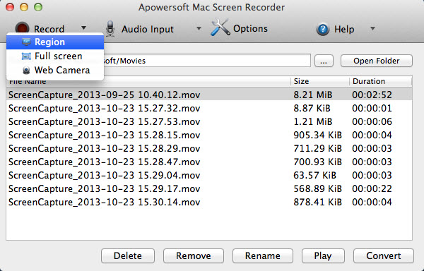 Mac OS X Mountain Lion screen recorder