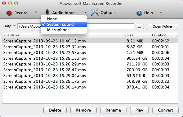 record OS X Mountain Lion
