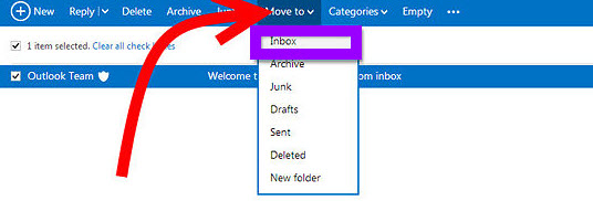 move to your recovered emails to Inbox