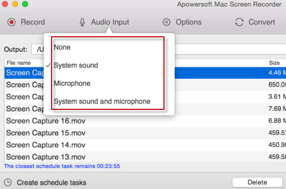record mac screen with audio input