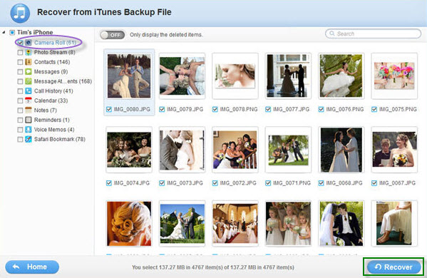 retrieve iPhone photos from iTunes backup