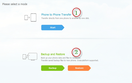 Phone Transfer home interface