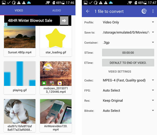 video converter Android interface