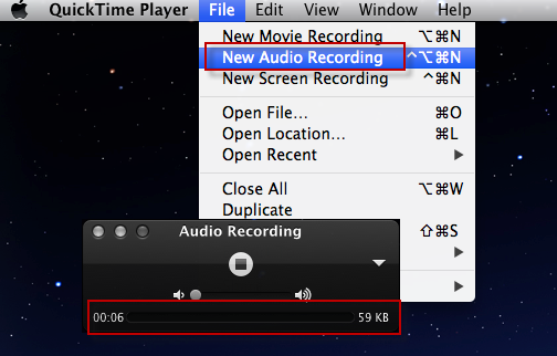 QuickTime record audio