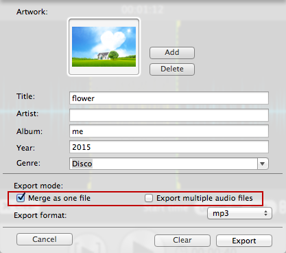 merge while exporting file