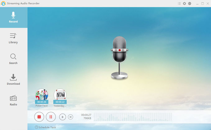 streaming audio recorder new UI