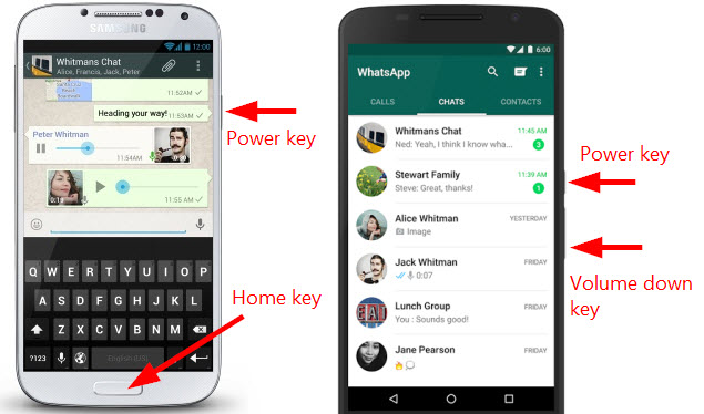 take screenshot of WhatsApp on Android