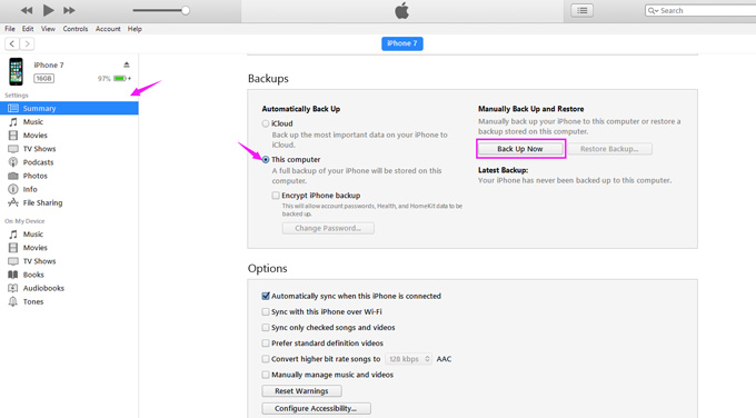 Transfer contacts via iTunes