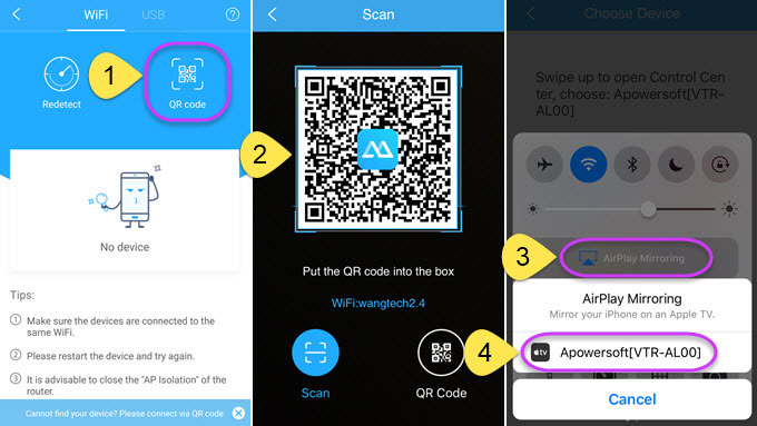 Use iOS ApowerMirror app to scan QR code