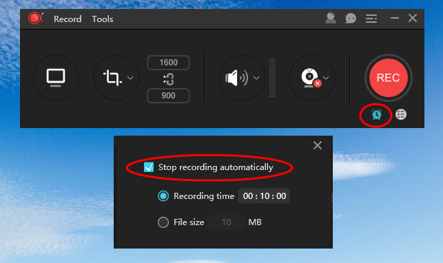 stop recording automatically