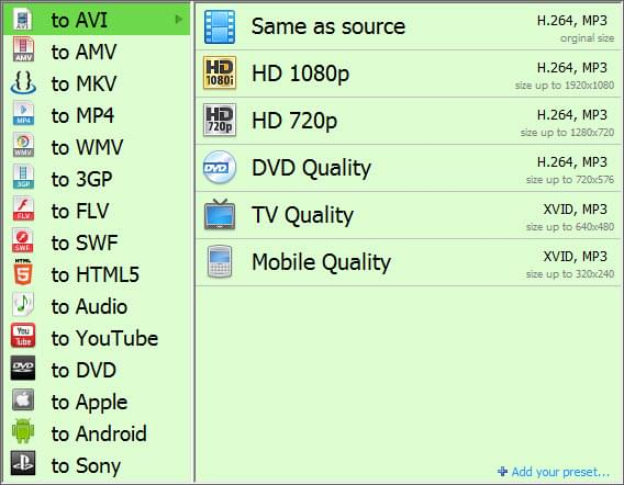output video and audio formats