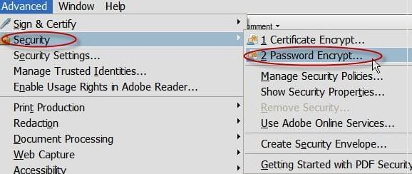 Adobe Acrobat to add password
