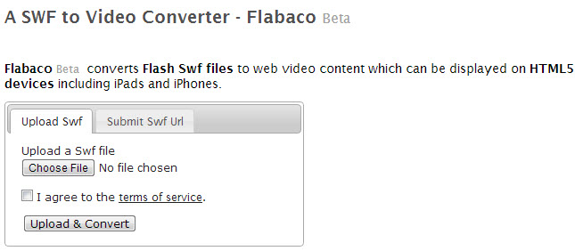 Flabaco SWF to video converter