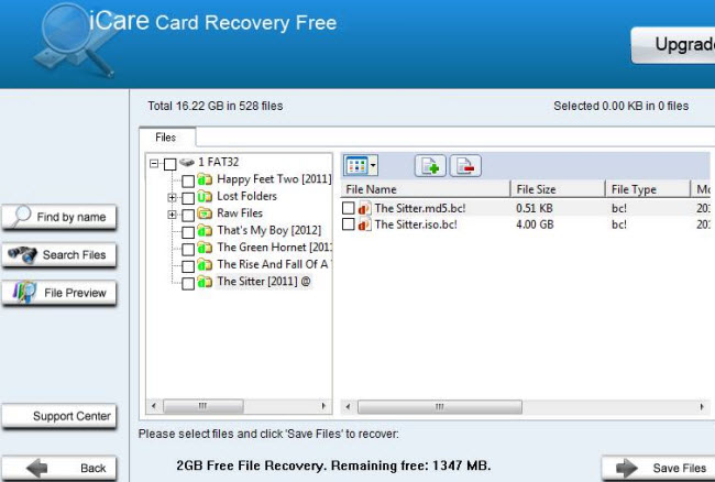 icare card recovery free screenshot