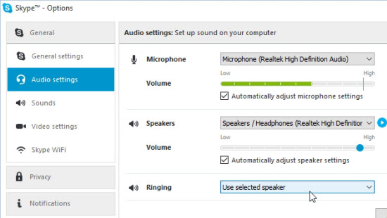 output speakers in skype