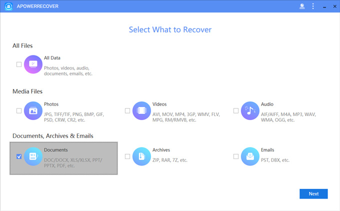 Recover Excel with ApowerRecover