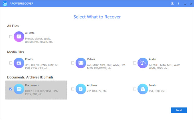 Recover PPT files with ApowerRecover