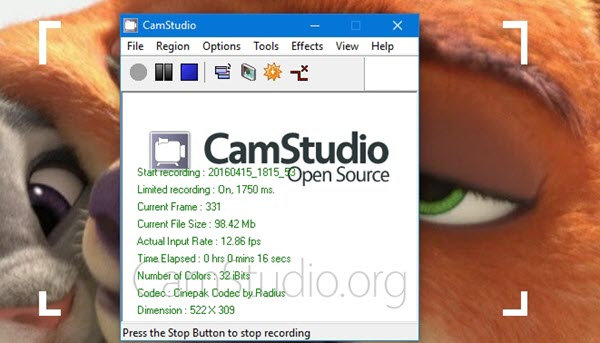 camstudio recording screen