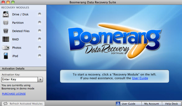 Boomerang Data Recovery Software for Mac OS X screenshot