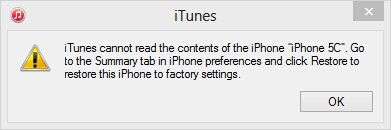 iTunes cannot read the iPhone data