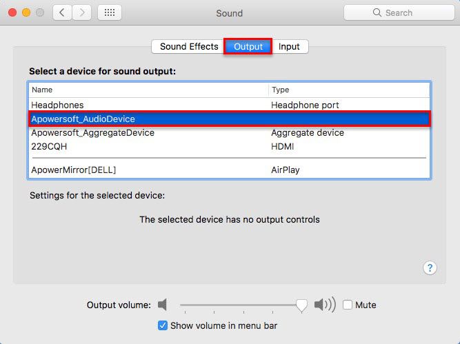 Output audio source