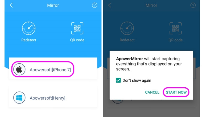 Mirror Android to iOS
