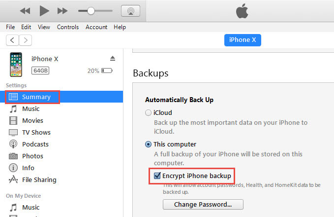 Uncheck encrypt iPhone backup