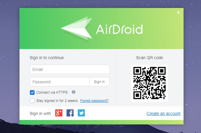 create airdroid account