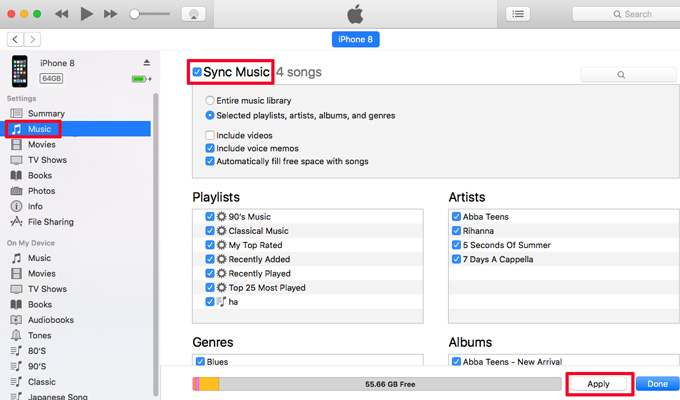 Sync Music from iTuens to iPhone