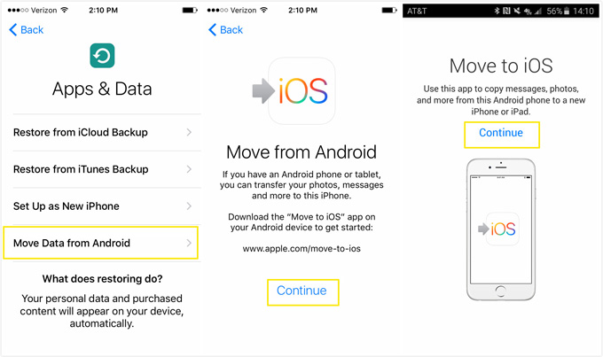 Transfer data from Samsung to iPhone XS with Move to iPhone